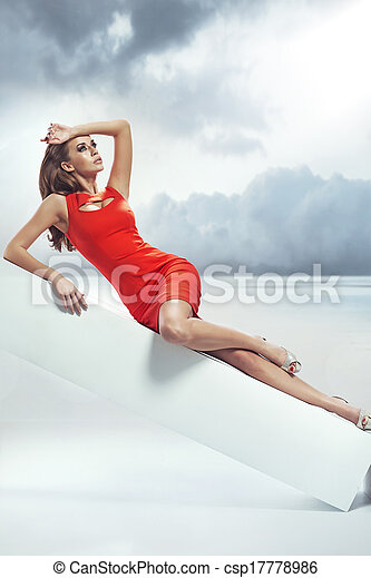 Art photo of brunette lady over the sky background - csp17778986