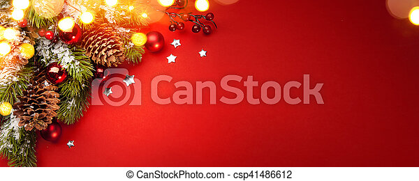 Art red Christmas holidays background; greeting card - csp41486612