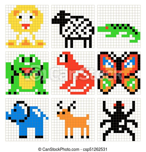 Art Set Vecteur Animaux Pixel