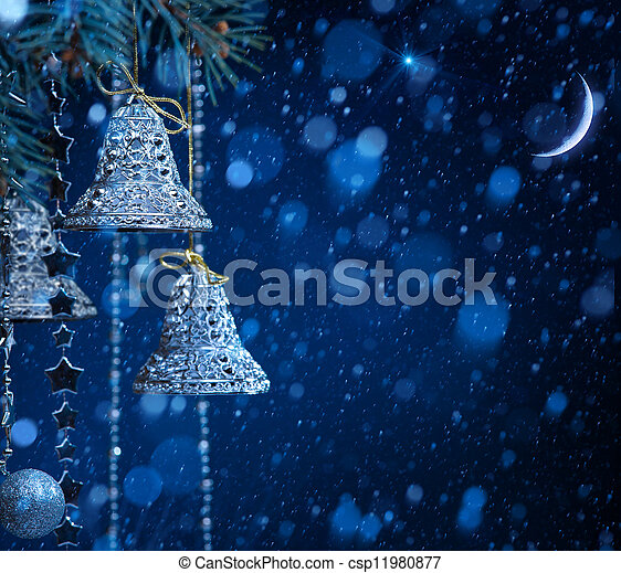 art snow christmas decoration on blue background - csp11980877