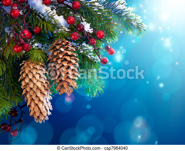 Art snowy Christmas tree - csp7984040