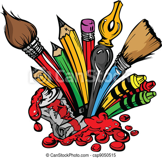 art supplies vector cartoon art and back to school clipart rh canstockphoto com  art supplies clipart black and white