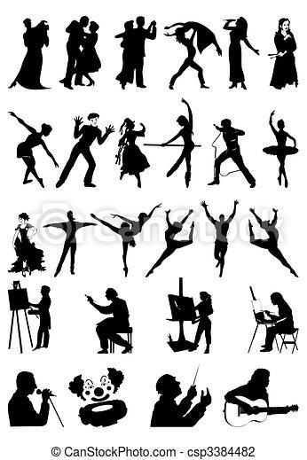 art., sylwetka, wektor, ilustracja, ludzie - csp3384482