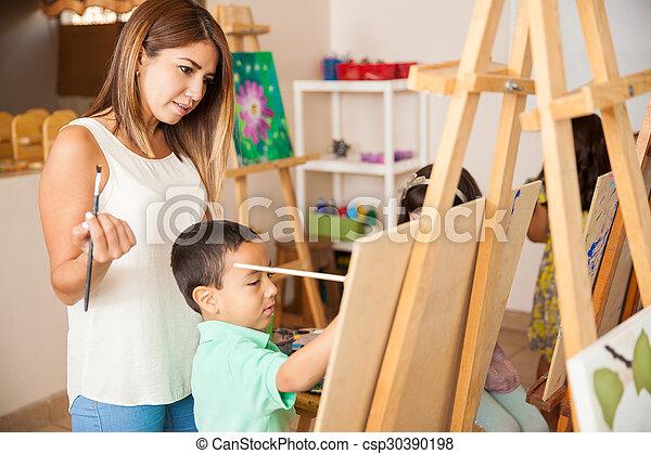 Intelligible message Female art teacher male model