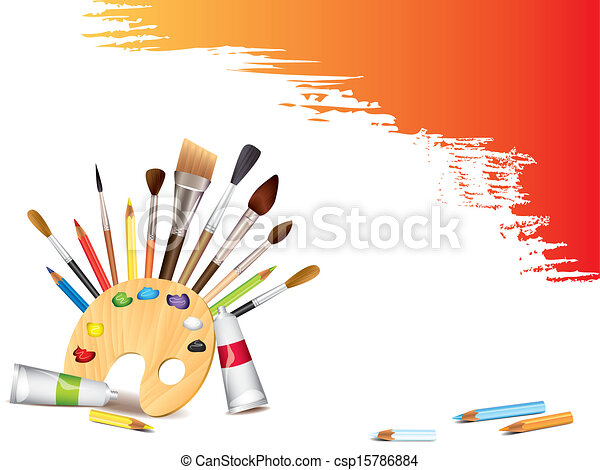 Art tools and grunge smears - csp15786884