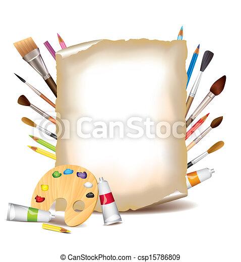 Art tools and sheet of paper - csp15786809