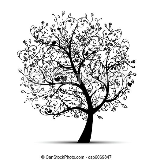 Art tree beautiful, black silhouette for your design - csp6069847