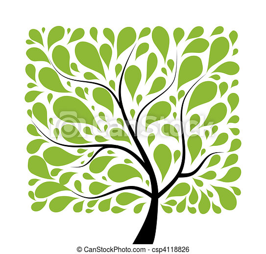 Art tree beautiful for your design  - csp4118826