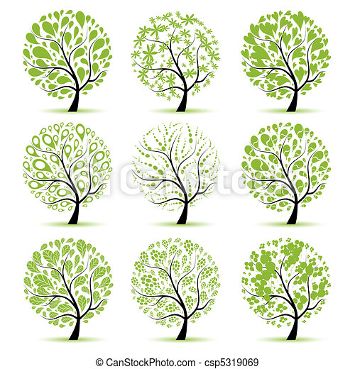 Art tree collection for your design - csp5319069