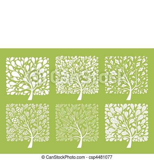 Art tree collection for your design  - csp4481077