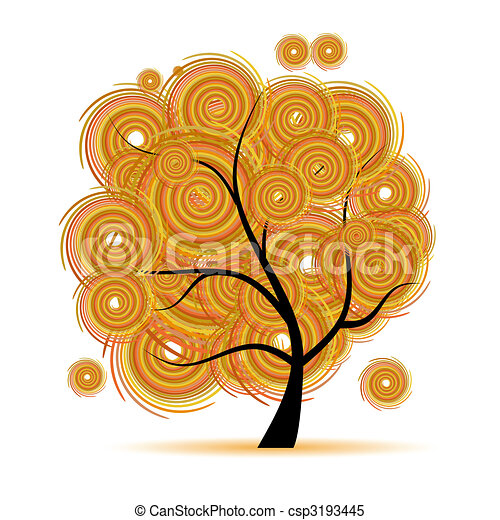 Art tree fantasy, autumn season - csp3193445