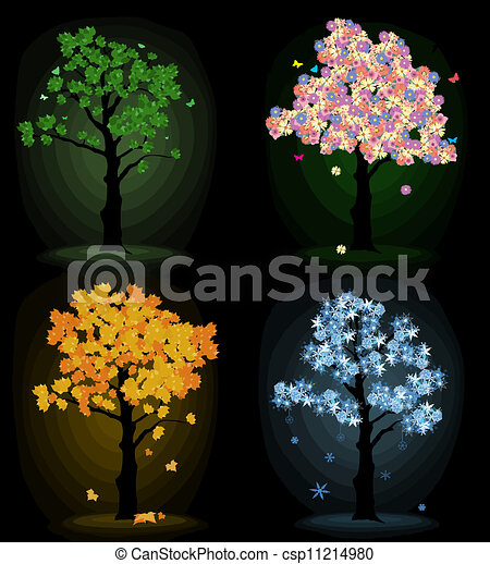 Art tree for your design.  Four seasons - csp11214980