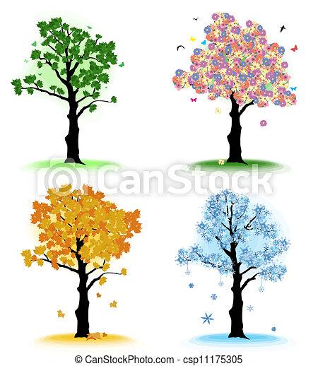 Art tree for your design.  Four seasons - csp11175305