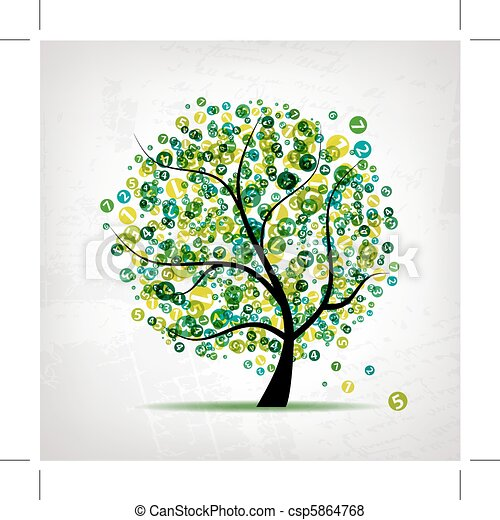 Art tree with figures green for your design - csp5864768