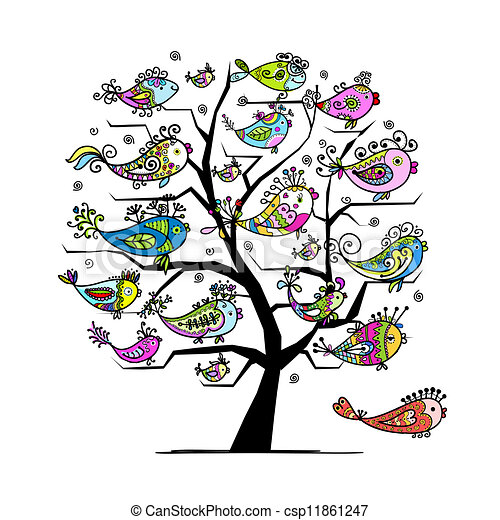 Art tree with funny fishes for your design - csp11861247