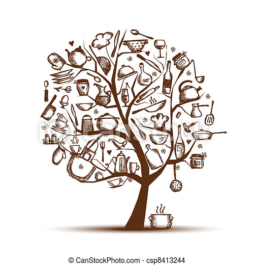 Art tree with kitchen utensils, sketch drawing for your design - csp8413244