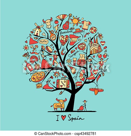 Art Tree With Spain Symbols For Your Design Vector Illustration