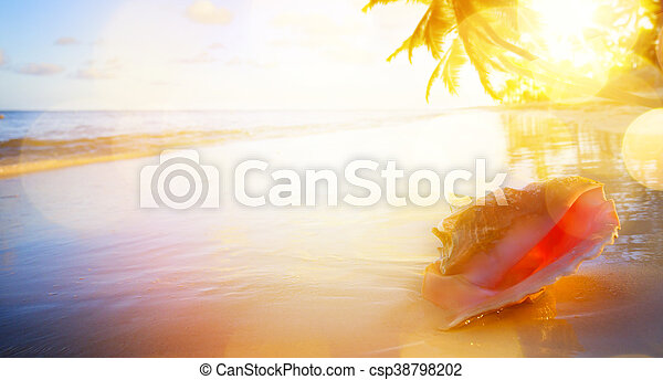 art Vacation background; sunset on the tropical beach - csp38798202