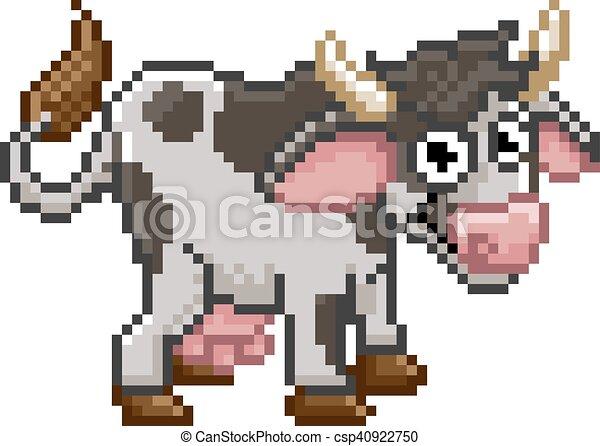 Art Vache Ferme Dessin Animé Animal Pixel