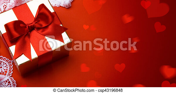 Line Art Valentine : Art valentine day; golden gift box on red background . drawing