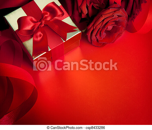 art valentines greeting card with red roses and gift box isolated on red background - csp8433286