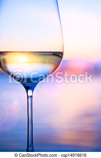 Art white wine on the summer sea background  - csp14916616