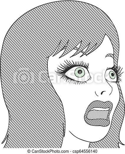 art woman face draw - csp64556140