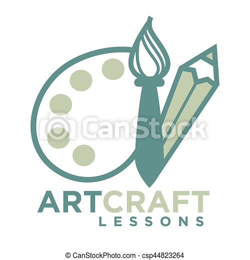 Artcraft logo emblem with pencil and brush with palette for Arts and crafts logo