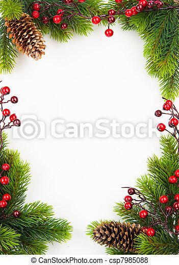 Marcos de Navidad de arte con cerveza y Holly - csp7985088