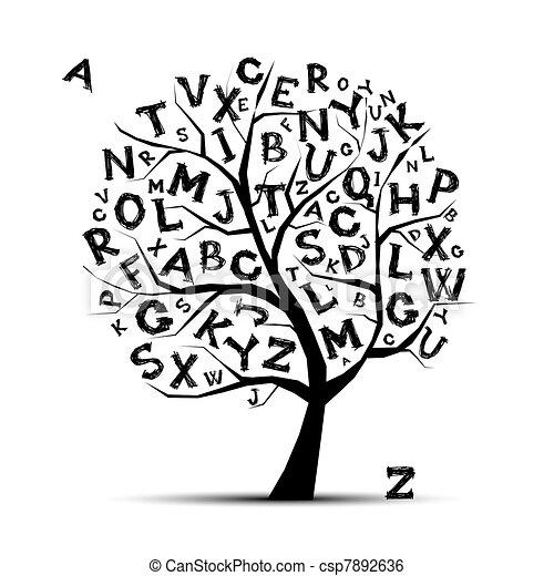 arte, alfabeto, árvore, desenho, letras, seu - csp7892636