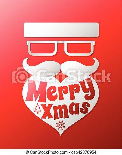 Santa Claus con el vector de la barba ilustración. El poster de Navidad para la fiesta o la tarjeta de felicitación. Fondo de diseño de arte Vector. - csp42378954