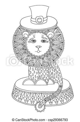 Arte, circo, -, tema, ilustración, león, línea, sombrero. Uso ...