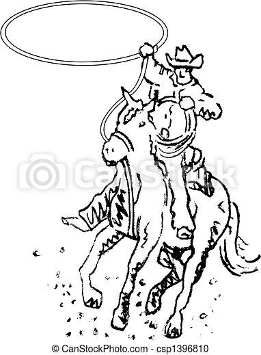 arte, cowboy, rodeo, occidentale, linea, cavaliere - csp1396810