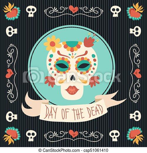 Arte Cranio Catrina Morto Acucar Mexicano Dia Skeleton