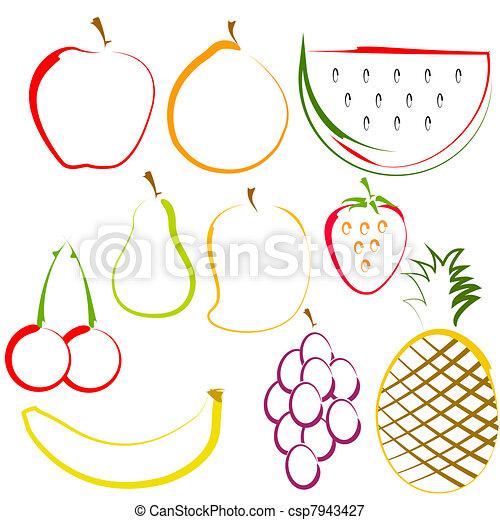 Frutas en la línea de arte - csp7943427