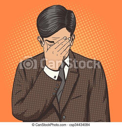 Hombre de negocios con gestos faciales vector de arte pop - csp34434084
