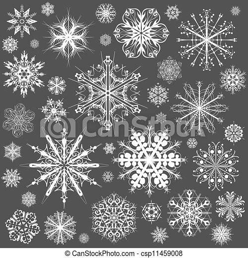 Copos de nieve iconos vectores de Navidad. Colección de copos de nieve arte gráfico - csp11459008