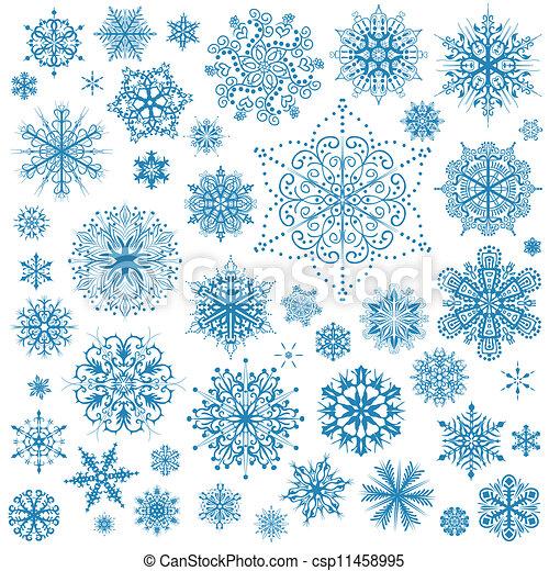 arte grafica, fiocchi neve, fiocco neve, vettore, icons., collezione, natale - csp11458995