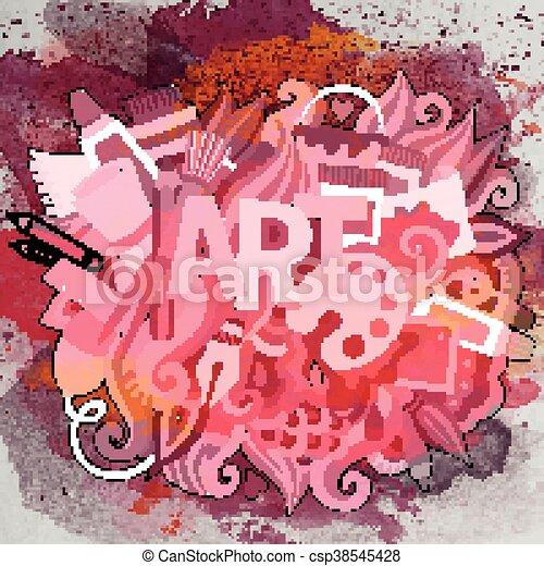 arte, illustration., scarabocchiare, mano, vettore, disegnato, cartone animato - csp38545428