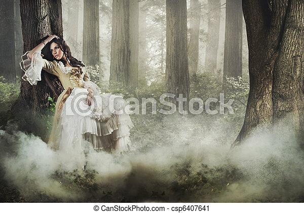 Bonita foto de arte de una hermosa dama en un misterioso bosque de niebla - csp6407641