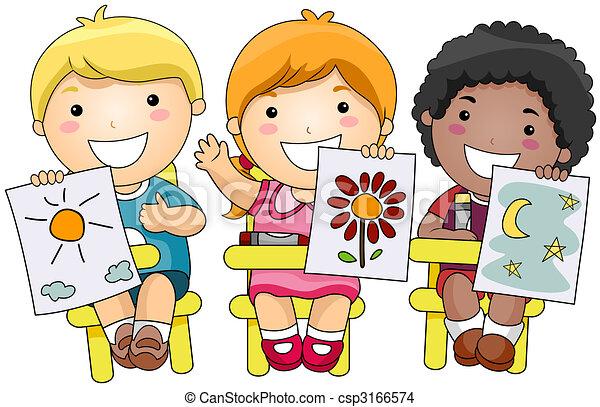 Dibujo de arte nios  Children actuacin trabajos artsticos