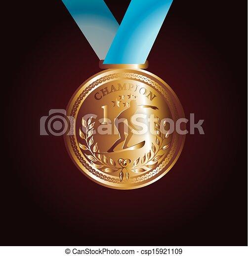 arte, ouro, vetorial, vermelho, medalha, fita - csp15921109