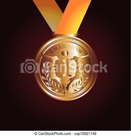 arte, ouro, vetorial, vermelho, medalha, fita - csp15921149