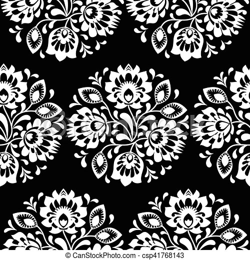 Patrón de arte tradicional floral polaco sin costura - csp41768143
