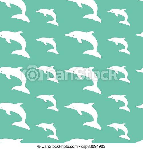 Diseño artístico de vectores de delfín para tela y decoración. Patrón sin costura - csp33094903