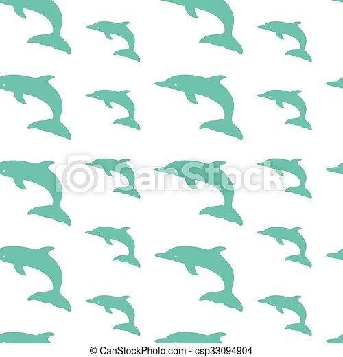 Diseño artístico de vectores de delfín para tela y decoración. Patrón sin costura - csp33094904
