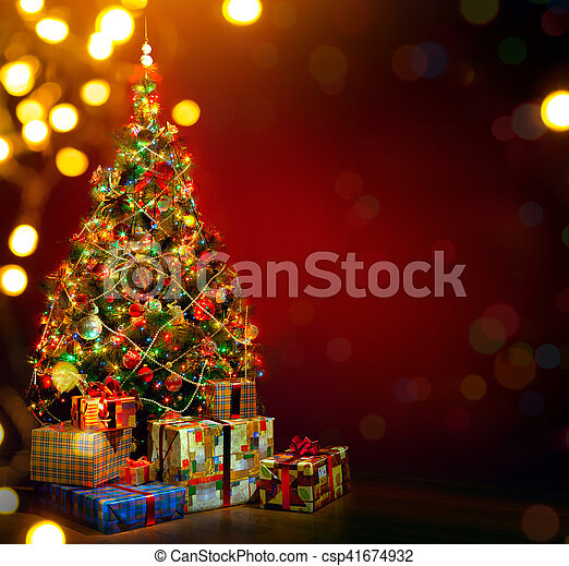arte, regalo, albero, fondo, vacanza, natale, rosso - csp41674932