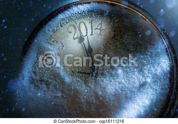 Navidad de arte y nuevos años reloj 2014 - csp16111216