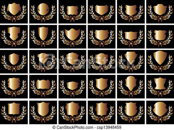 arte, scudo, oro, vettore, sfondo nero - csp13948459