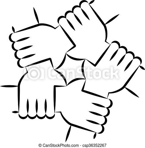 arte, solidariedade, círculo, linha, branca - csp36352267